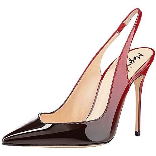 4 Inch Slingback Pump Shoes - Maguidern 4 inches Heels Slingback Pumps,Patent Leather Pointy Toe Stilettos Heel Slingbacks Party Dress Shoes red Black Size 13