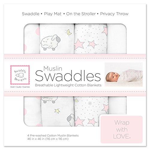 SwaddleDesigns 4 Piece Muslin Swaddle Blankets, Twinkle & Little Lamb, Pastel Pink
