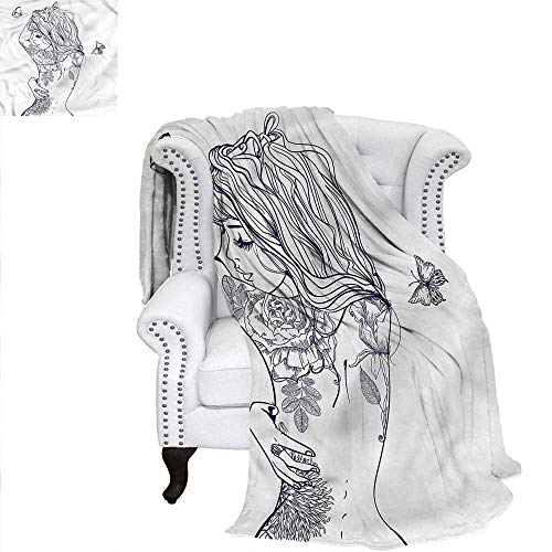 RenteriaDecor Girls Blanket Young Girl with Tattoo Weave