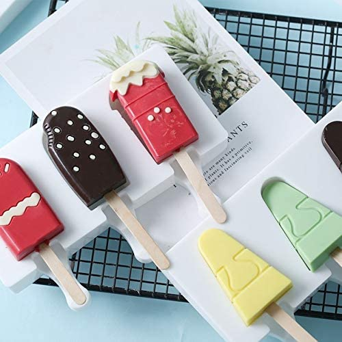 Ice Lolly Mould Silicone Oval Ice Cream Bar Maker with Wooden Popsicle Sticks op