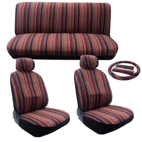 Honda Car Vintage (Saddle Blanket Seat Cover Set - Pink Stripes - 11pc Front Rear Headrests Steering Wheel Cover & Seat Belt Pads Classic Vintage Summer Colors Stripes)