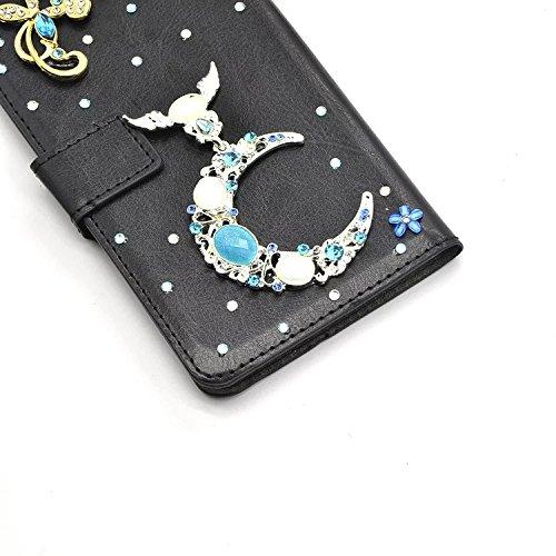 Vandot - para Samsung Galaxy A5 2017 A520 Case 3D Bling Rhinestone Diamantes y Perlas Magnética Función de Soporte Funda Carcasa Stand Flip PU Cuero del Tirón Caja de la Cubierta - Amor del Corazón de ZPT 24