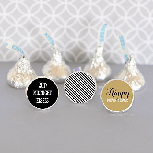 personalized new years eve party hersheys kisses labels trio set of 108