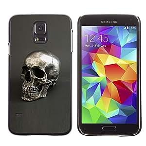 Shell-Star Arte & diseño plástico duro Fundas Cover Cubre Hard Case Cover para SAMSUNG Galaxy S5 V / i9600 / SM-G900F / SM-G900M / SM-G900A / SM-G900T / SM-G900W8 ( Skull Silver Bling Metal Grey Death )