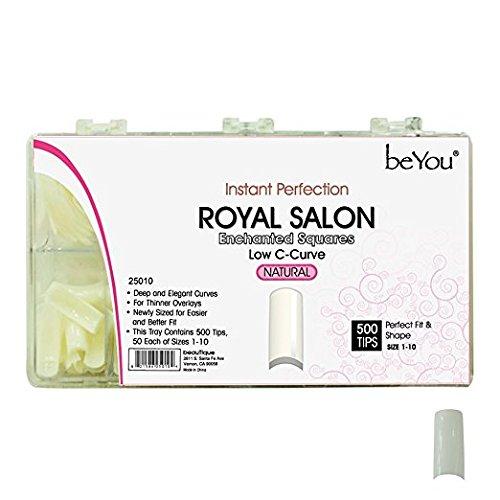 BE.YOU. BeYou Natural Royal Salon 500 Artificial Fake False Nail Tips 10 Sizes 25010 for Nail Salon Nail shop Beautique Inc