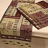 Queenie® - Set of 1 Tapestry Table Runner and 4 Placemats (Faith Family & Friends)