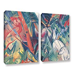 """ArtWall Franz Marc's in the Rain 2 Piece Gallery Wrapped Canvas Set, 18"""" x 24"""""""