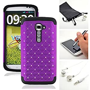 Purple Deluxe Bling Rhinestone X Shield Armor Gel Hybrid Case Cover for LG G2 VS980 (Verizon) + Accessory Kit