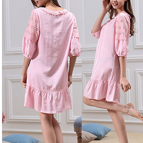 Zhhlinyuan Comfortable Womens Summer Sleep Skirt Pajamas Round Neck Nightwear M5652 Pink