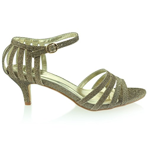 Mujer Señoras Strappy Brillante Resplandecer Tacón Medio Noche Fiesta Boda Prom Sandalias Zapatos Talla Marrón