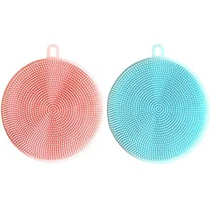 Raytyestore 2Pack Multipurpose Dish Brush Silicon with Hanging Hook Kitchen Washing Tool (Pink+Blue)
