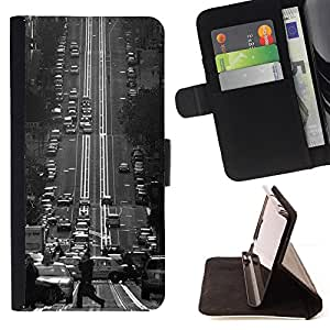 Jordan Colourful Shop - fransisco black white vintage trolly For HTC One M7 - Leather Case Absorci???¡¯???€????€?????????&