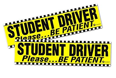 "Zone Tech ""Student Driver Please Be Patient"" Vehicle Bumper Magnet - 2-Pack Premium Quality ""Student Driver Please Be Patient"" Bumper Safety Sign Magnet"