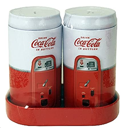 Salt & Pepper Shaker Set with Caddy - Retro Coca Cola