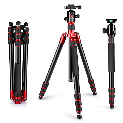 Neewer Alluminum Alloy 67″/170cm Tripod Monopod with 360 Degree Ball Head,1/4″Quick Release Plate,and Bubble Level Including Carrying Bag for DSLR Camera,Video Camcorder,Load Capacity 33lbs/15kg