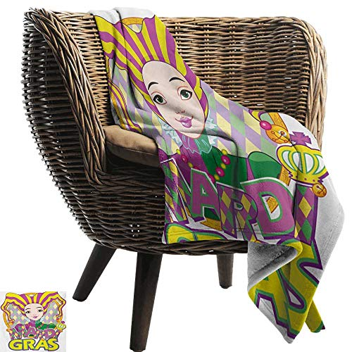 BelleAckerman Outdoor Blanket,Mardi Gras,Carnival Girl in Harlequin Costume and Hat Cartoon Fat Tuesday Theme,Yellow Purple Green,300GSM,Super Soft and Warm,Durable Throw Blanket 60