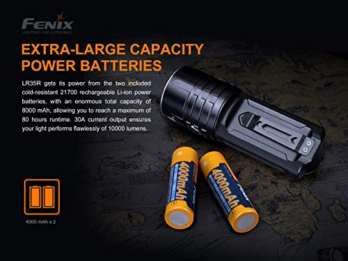 Fenix LR35R 10,000 lumen LED rechargeable tactical flashlight with 2 X Fenix Li-ion rechargeable batteries and EdisonBright battery carrying case bundle