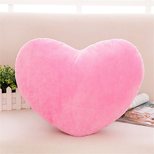 (S-SSOY Cute Emoji Plush Pillow Heart Shape Cushion Fluffy Throw Pillows Decorative Toy Gift for Friends/Children Valentine's Day (Light Pink))