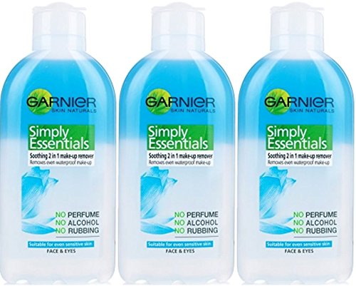 THREE PACKS of Garnier Simply Essentials 2in1 Eye Make Up Remover 200ml