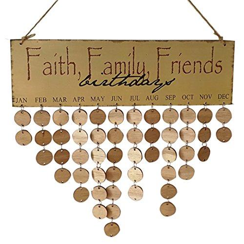 [해외]Ivinxy 생일 알림 나무 걸이 달력 명판 보드 홈 파티 장식 / Ivinxy Birthday Reminder Wooden Hanging Calendar Plaque Board Home Party Decoration