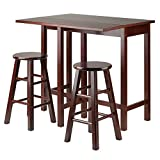Winsome Wood Lynnwood Drop Leaf Island Table with 2 Square Legs Stool Walnut, 3-Piece