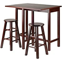 Winsome Lynnwood Drop Leaf Island Table with 2 Square Legs Stool Walnut, 3-Piece