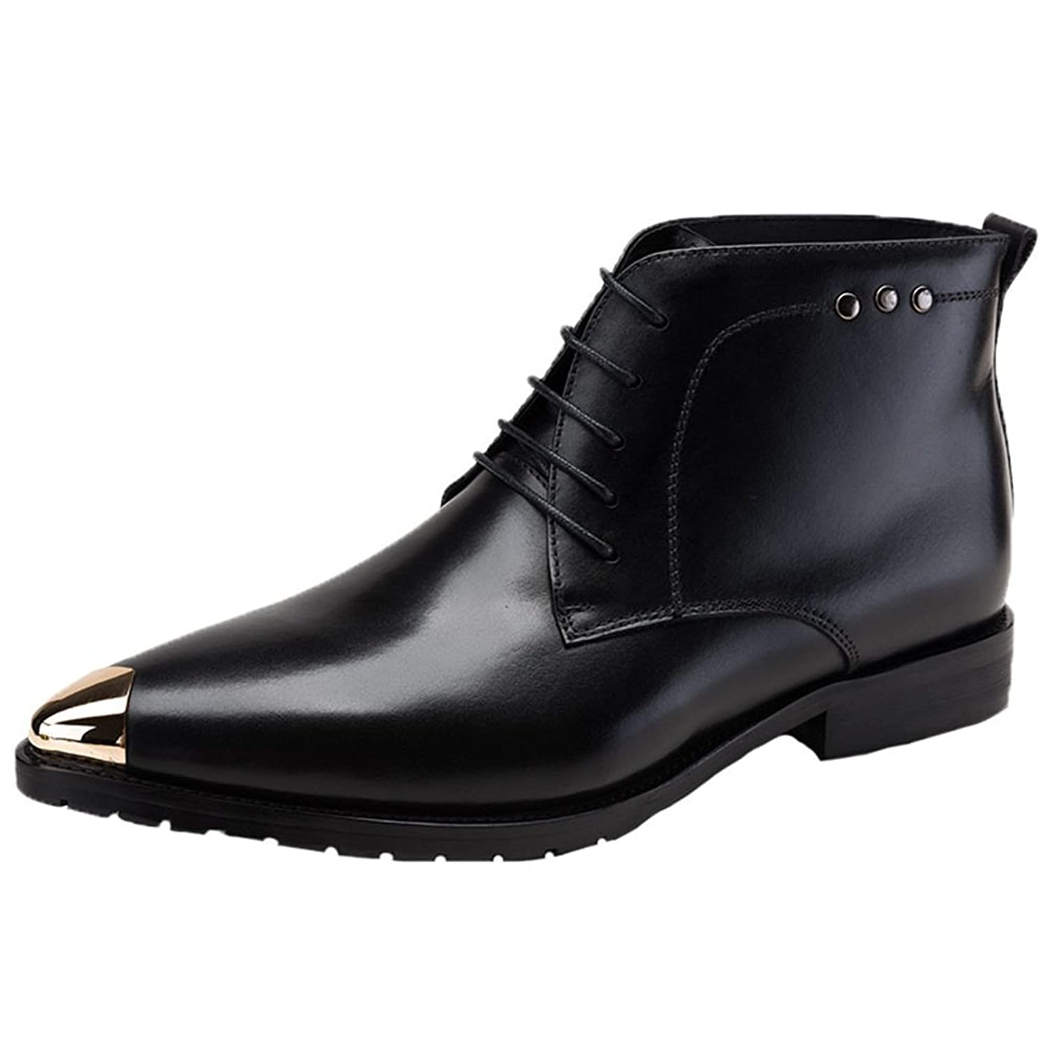 Santimon Men's Dress Boots Leather Ankle Steel Toed Lace up Derby Shoes