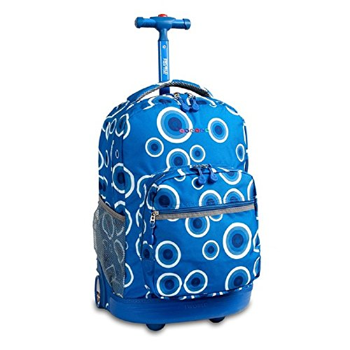 Girls Blue Geometric Circle Backpack Polka Dot Themed White Dots (Luggage White Rolling Dot Polka)