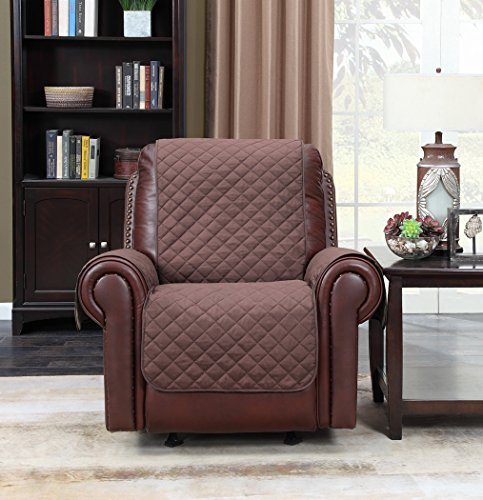 Home Queen Premium Couch Slipcover Chair Covers, Non-Slip Sofa Protector, Furniture Covers for Dogs, Kids, Pets, Fit Most Recliner Leather Chair 75'' L x 65'' W, Chocolate/Tan