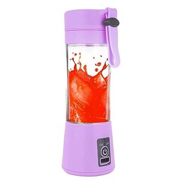 Mini exprimidor de frutas, Hunpta 380 ml USB Exprimidor de frutas eléctrico de mano batidora batidora botella jugo taza morado: Amazon.es: Hogar