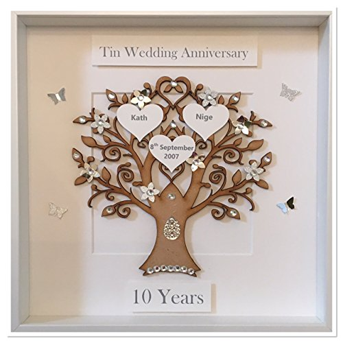 10 Year Wedding Anniversary.Personalised 10 Years 10th Tin Wedding Anniversary Family Tree Picture Frame Gift