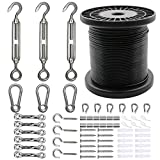 Belio String Light Hanging Kit,Stainless Steel Cable for Outdoor Lights,Globe String Light Suspension Kit Include 164 FT Wire Rope Cable Turnbuckle and Hooks