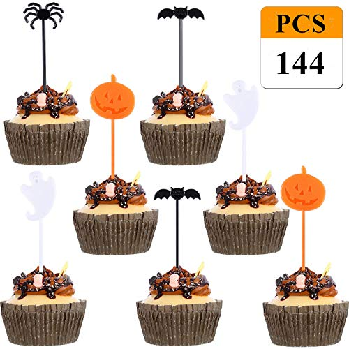 Christmas Thanksgiving Cupcake Toppers, 72 Pieces Halloween Food Picks Halloween Cupcake Toppers Picks for Halloween Party Decorations Pumpkin Ghost Spider Cupcake Topper for Halloween Party (144 PCS)