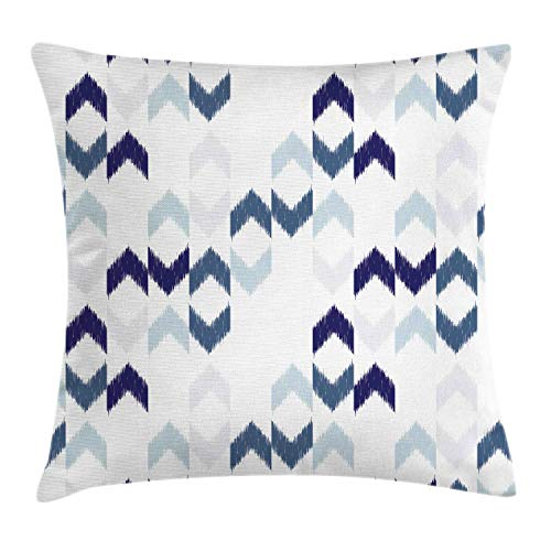 (Ambesonne Navy Throw Pillow Cushion Cover, Abstract Ethnic Ikat Chevron with Hazy Zigzag Folk Traditional Image, Decorative Square Accent Pillow Case, 18 X 18 Inches, Purple Slate Blue White)
