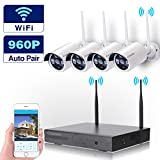 Cromorc Wireless HD Security Surveillance System WIFI NVR Kit 4CH 1080P NVR 4pcs 960P Indoor Outdoor Bullet IP Cameras P2P IR Night Vision Waterproof Plug and Play without HDD