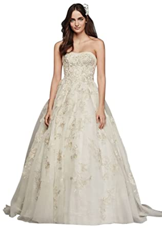 Davids Bridal Oleg Cassini Organza Veiled Lace Wedding Dress Style CWG700 Ivory