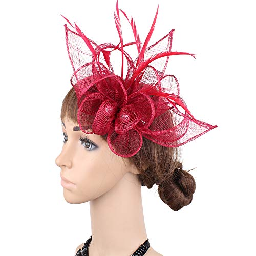 YONQUIL Derby Race Elegant Ladies Headwear Hair Clips Winter feater Decor Headdress SYF477 (Wine) ()