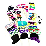Photo Booth Props Photography Stick Face Mask Mustache Glasses Paper DIY Kit for Party Favors, Children Adult Birthday, Wedding Party Decorations, Activity Dress Up Costume Games by Super Z Outlet