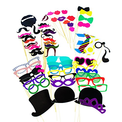 [Photo Booth Props Photography Stick Face Mask Mustache Glasses Paper DIY Kit for Party Favors, Children Adult Birthday, Wedding Party Decorations, Activity Dress Up Costume Games] (Costume Party Run Times)