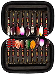 BenRan 18pcs Tackle Kit Spoon Fishing Lures Metal Swivel Spinners Spinnerbait with Box Salmon Frog Trout for F
