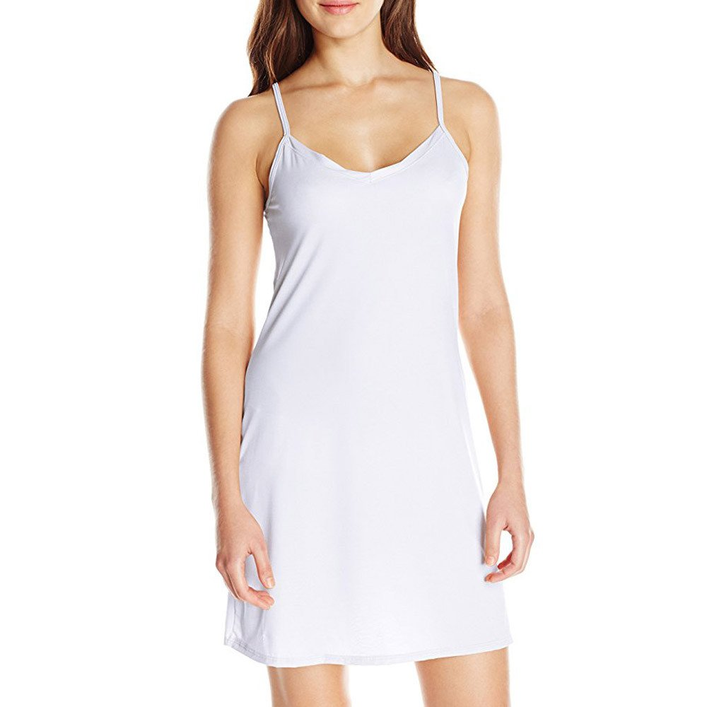 EOWEO Anniversary celebration Skirt Dress Fashion Women Ladies Sleeveless Solid Above Knee Dress Loose Party Dress(Large,White)