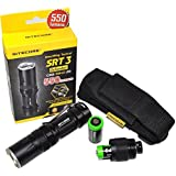 Nitecore SRT3 Defender Cree XM-L2 LED Flashlight Black - Max 550 Lumens / Red / Blue secondary mode with AA battery Extension, Holster, EdisonBright AA & CR123A bateries