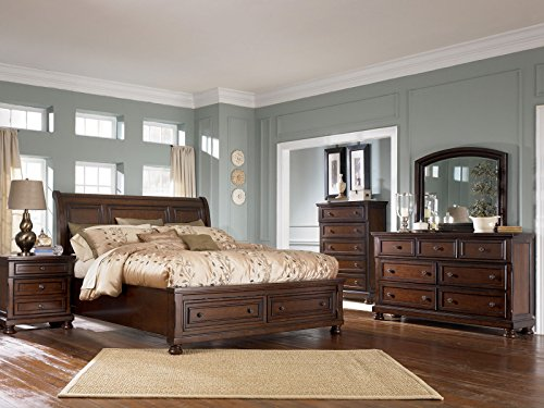 - 6 Pieces Complete Traditional Cottage Sleigh Storage Bedroom Set - Brown Finish Solid Wood
