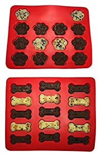 2Pack Food Grade Large Mats Trays, Puppy Pets Dog Paws & Bones Silicone Baking Molds, Bake Dog Treats For Pets, Kids, Dog-lovers, Kitchen Tips