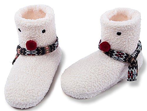 Maamgic Mujeres Fuzzy Knit Zapatillas De Casa De Navidad Señoras Dormitorio Lindo Zapatillas De Interior De Invierno Marfil