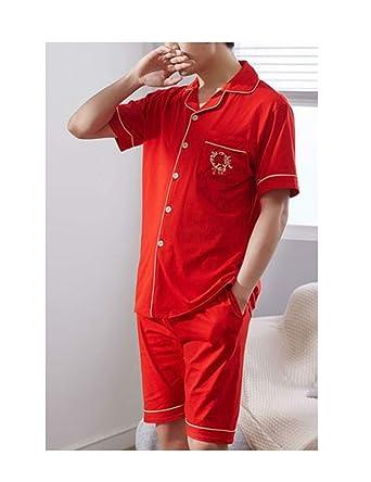 e8d3fd1d0325 Femaroly Summer Male Pajamas Set Cotton Short Sleeved Thin Tops Bottoms  Pants 2 Pcs Pj Sleepwear at Amazon Men's Clothing store: