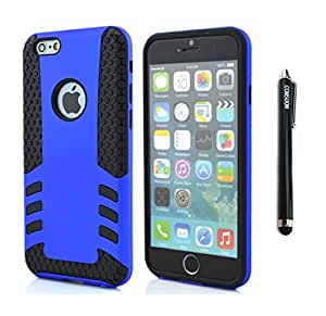 Comsoon 2 Layer Apple iPhone 6 Plus Case Shockproof Scratchproof Armor Cover iPhone 6 plus Rubber Rugged Hybrid Cases (Rocket Dark Blue)
