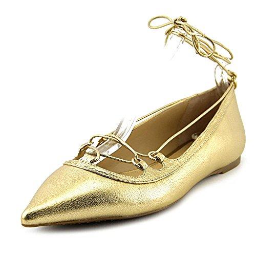 Michael Michael Kors Women's Tabby Flat Pale Gold Tumbled Metallic Flat 7.5 M