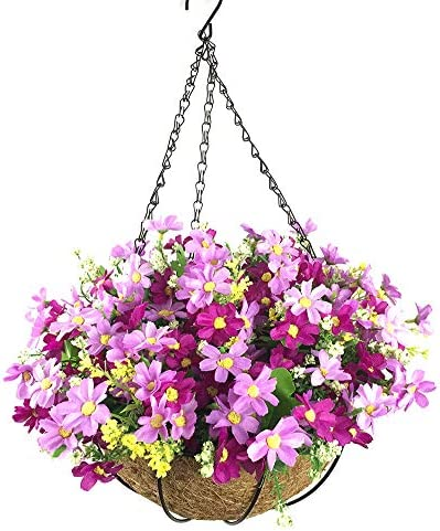 Lopkey Artificial Daisy Flowers Outdoor Indoor Patio Lawn Garden Hanging Basket with Chain Flowerpot,10 inch Purple