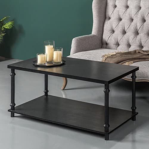 Flash Furniture Union Square Collection Sonoma Oak Wood Grain Finish Coffee Table with Black Metal Legs